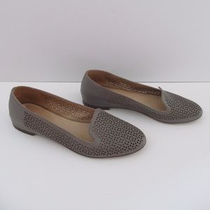 J Crew 8.5 Grey Perforated Leather Loafer Shoe